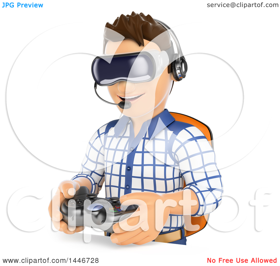 Clipart of a 3d Caucasian Teenage Guy Wearing Vitual Reality.