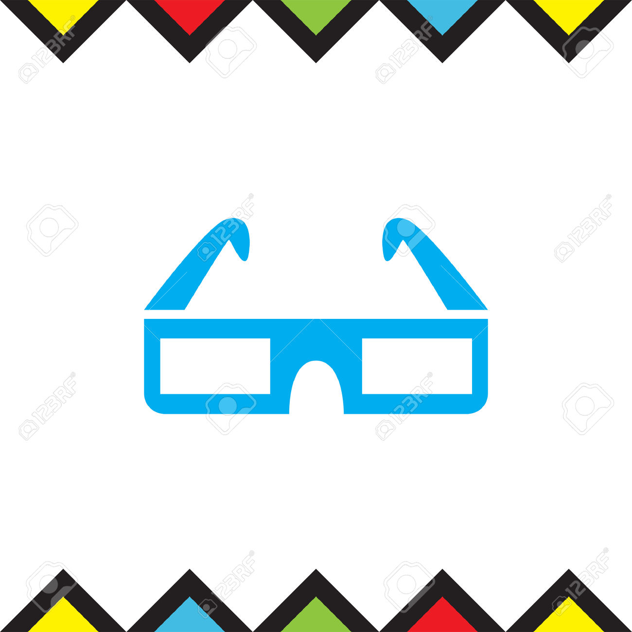 Movie 3d Video Glasses Vector Icon. New Film Technology Sign.