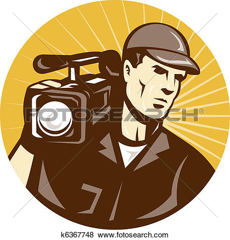 Clip Art of Cameraman Shooting Movie Video Camera Retro k16750206.