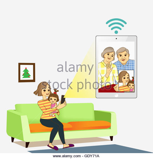 Smiling Woman Baby Having Videotelephony Stock Photos & Smiling.