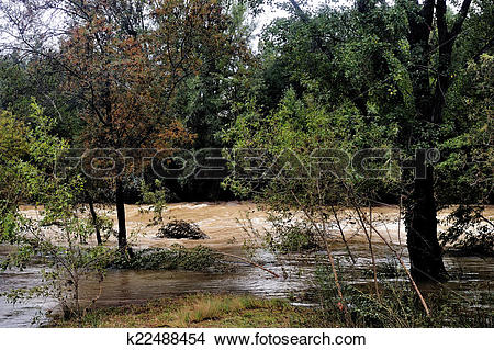 Stock Photo of The Vidourle river in flood after heavy rains.