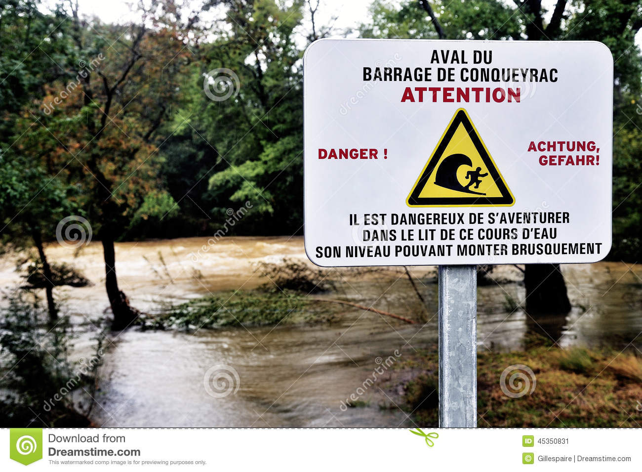 Sign Warning Of The Danger Of Dam Water Upstream Dropped Stock.
