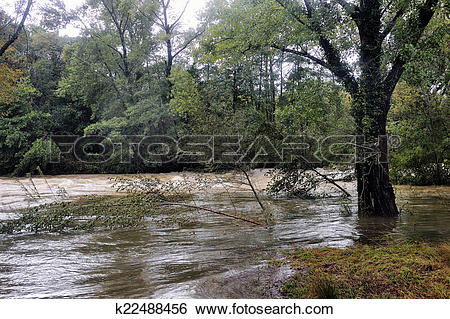 Stock Images of The Vidourle river in flood after heavy rains.