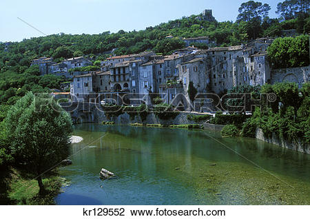Stock Photo of Sauve Gard France Village On River Vidourle.