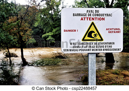 Stock Images of Sign warning of the danger of dam water upstream.