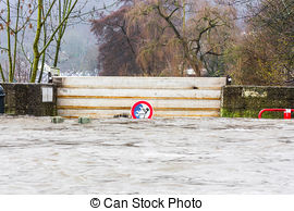 Stock Images of The Vidourle river in flood after heavy rains in.