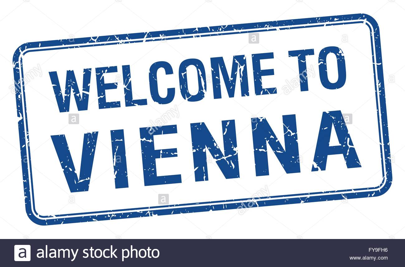 Welcome To Vienna Blue Grunge Square Stamp Stock Vector Art.