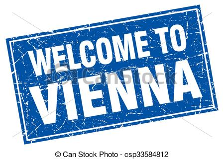 Vector Clip Art of Vienna blue square grunge welcome to stamp.