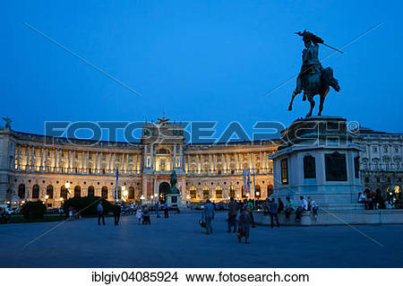 Stock Photo of Hofburg Palace at Heldenplatz square with the.