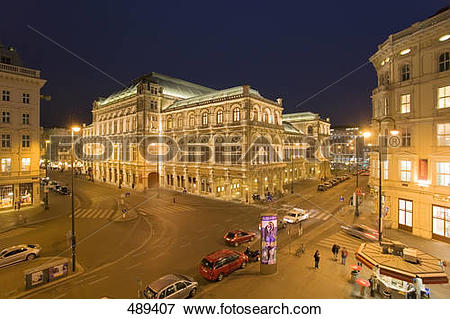 Picture of Museum and hotel lit up at night, Albertina Square.
