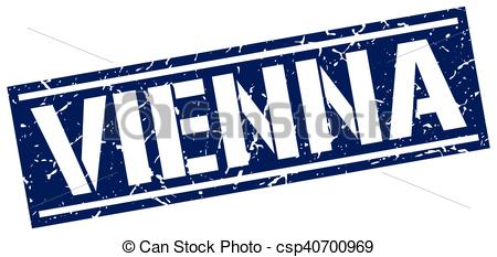 Clip Art Vector of Vienna blue square stamp csp40700969.