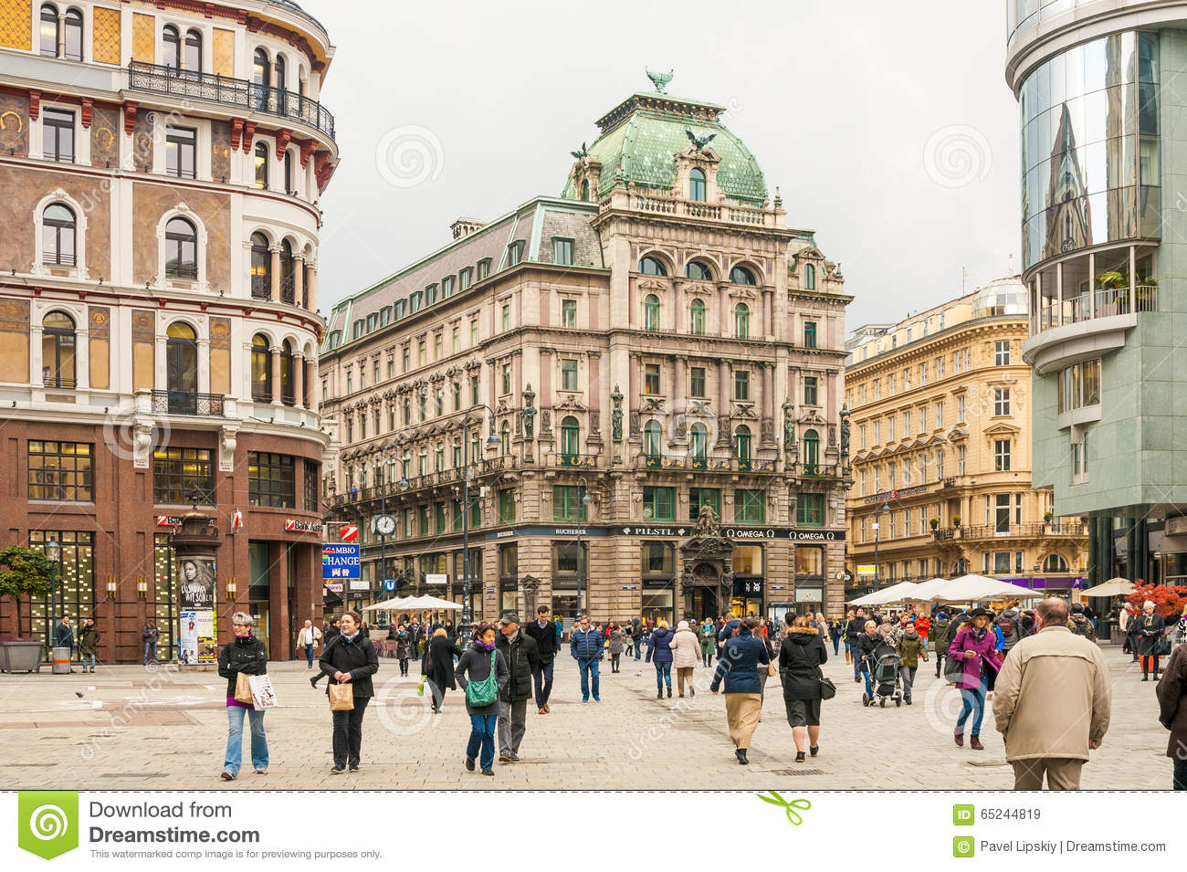 Tourists On Stephansplatz (Stephen's Square) In Old Town In Vienna.