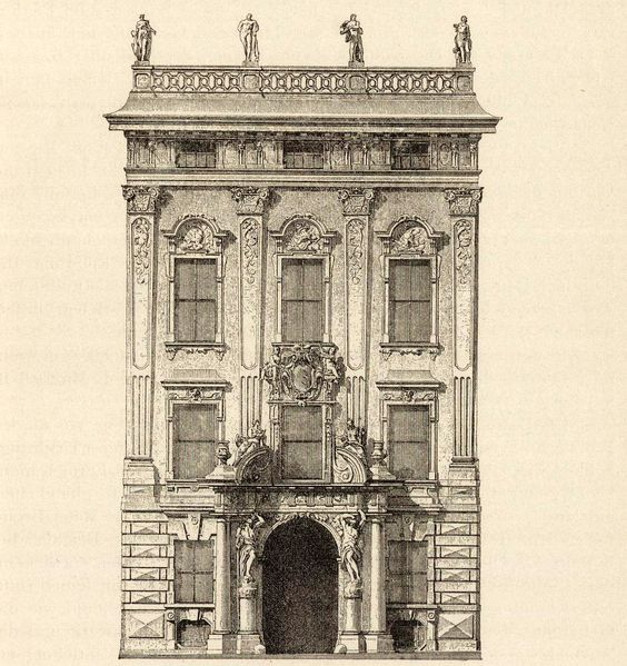 Elevation of the Palais Kinsky, Vienna.