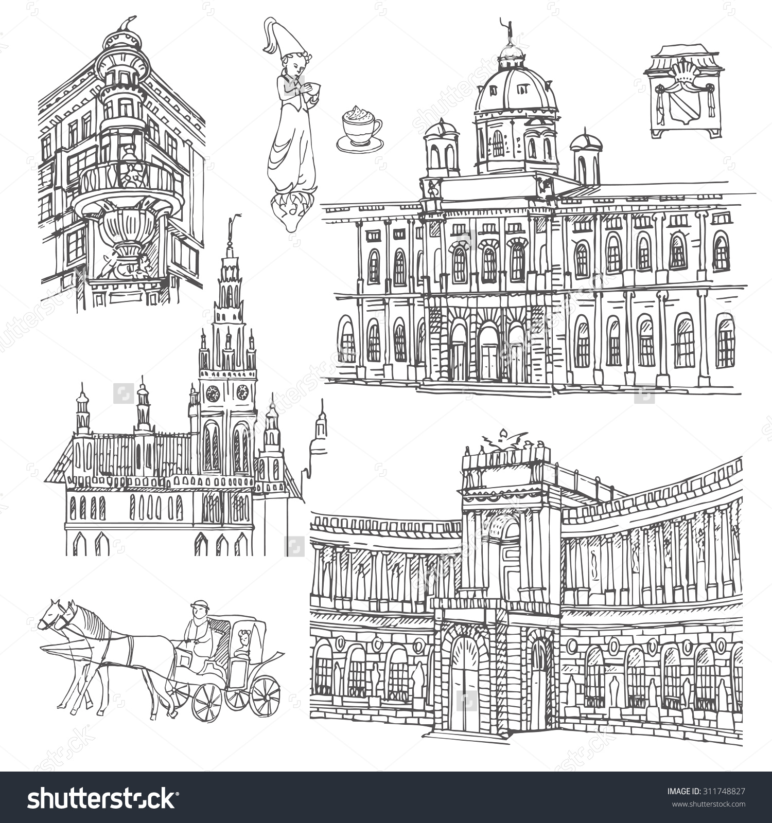 Vienna Vector Sketch Old Town Hand Stock Vector 311748827.