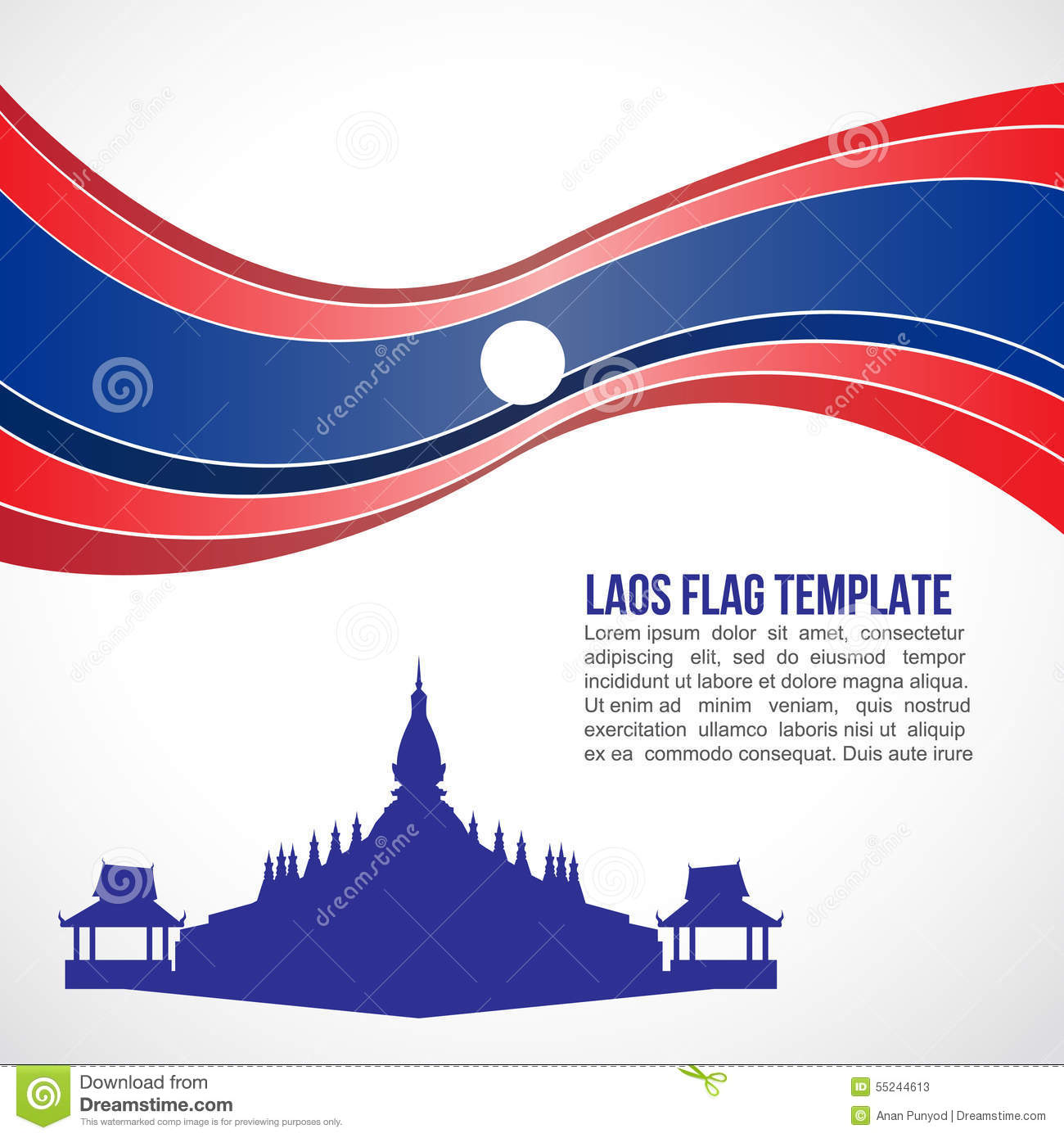 Abstract Laos Flag Wave And Pha That Luang, Vientiane Stock Vector.