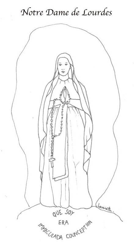 Vie & coloriages de sainte Bernadette.