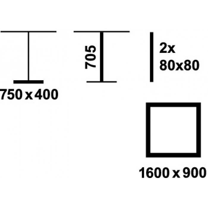 Häfele Tischgestell ZEE 705 2 eckige Säulen Edelstahl matt.