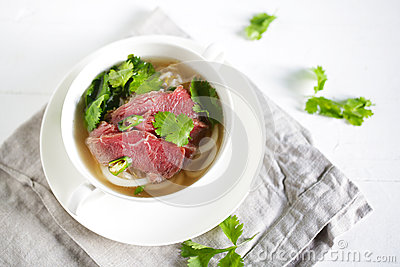 Beef Udon Noodle Soup With Raw Brisket, Pho From Vietnam With.