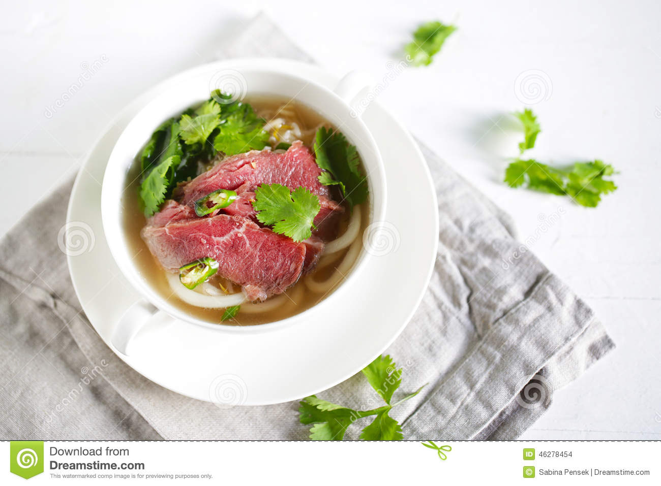 Beef Noodle Soup With Noodles, Pho From Vietnam With Coriander.