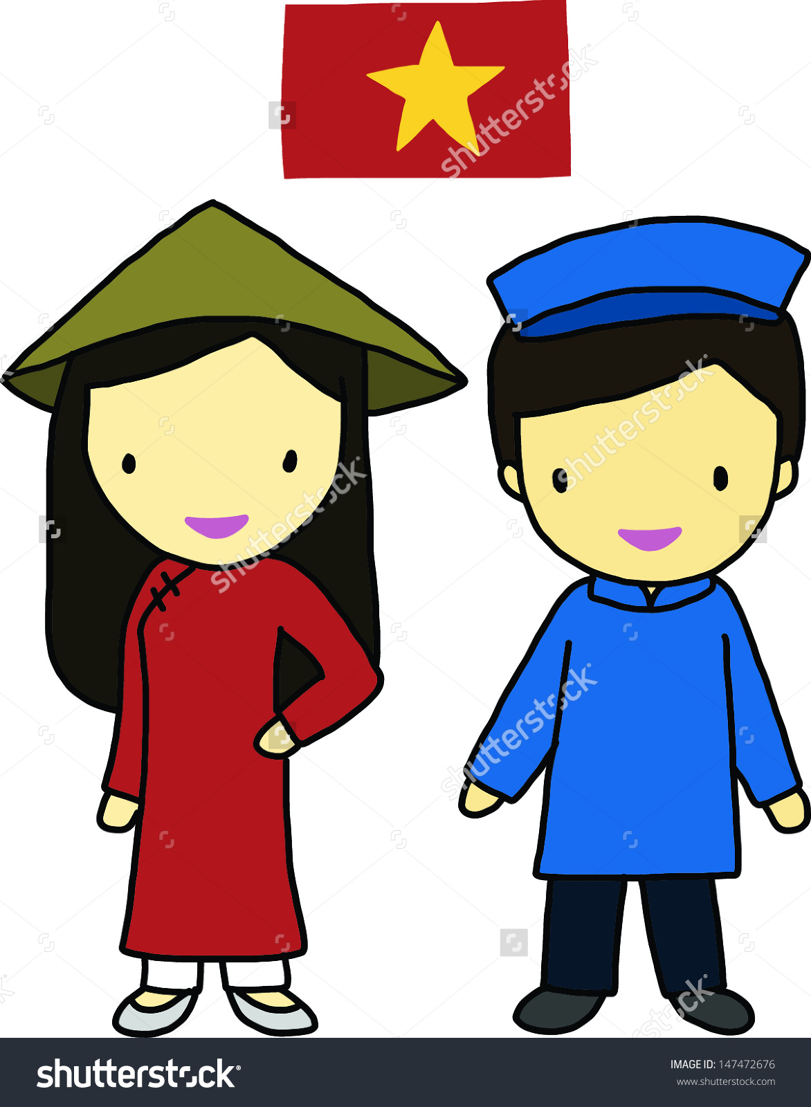National dress vietnam clipart.