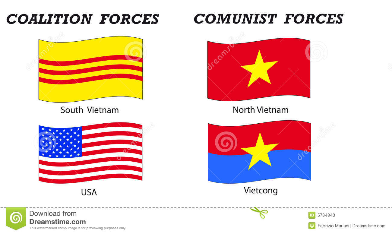Vietnam War Flags And Coalitions Stock Photos.