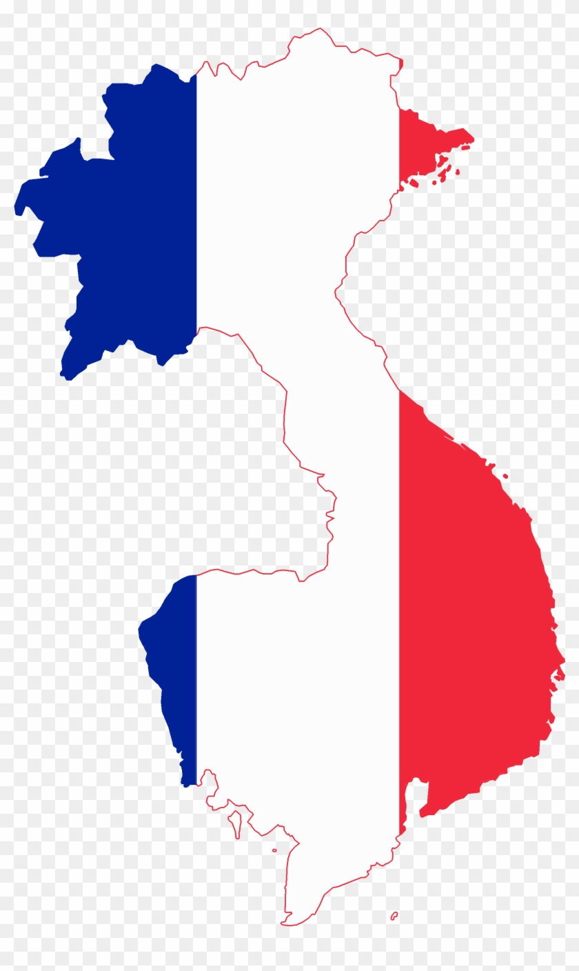 Flag Map Of French Indochina 1887.