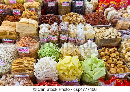Stock Image of Food at Asian Market in Ho Chi Minh City (Saigon.