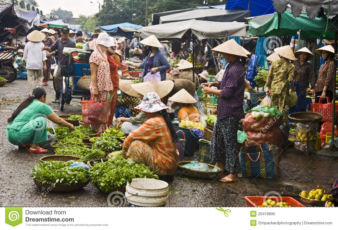 Busy Vietnamese Market Scene Editorial Image.