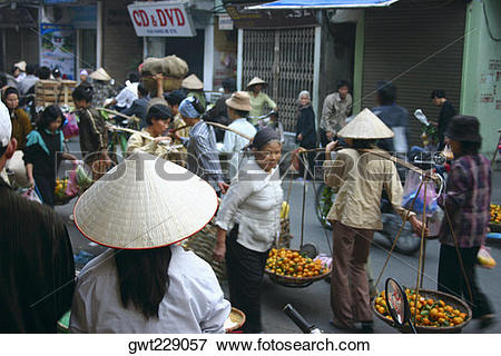 Picture of Group of people in a market, Hanoi, Vietnam gwt229057.