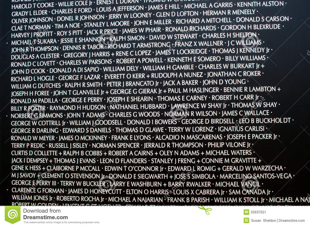 Names At The Vietnam War Memorial Editorial Photo.