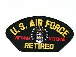AIR FORCE VIETNAM VETERAN RETIRED RIBBON EMBROIDERED MILITARY LOGO PATCH.
