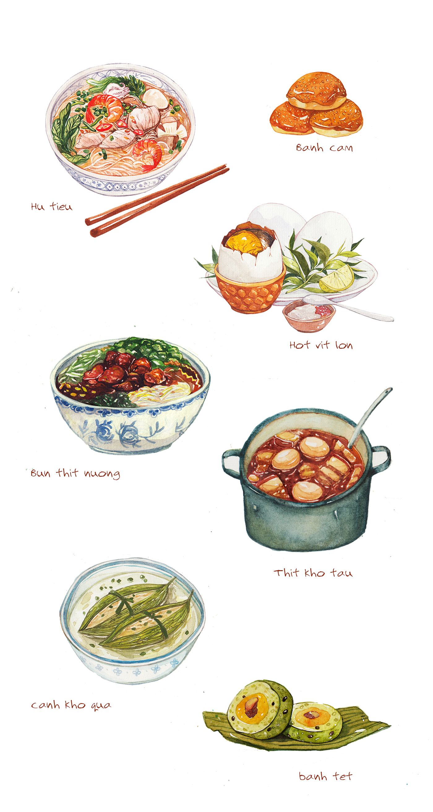illustrations of 10 best dishes in Saigon.