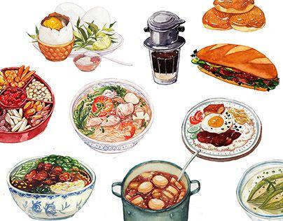 Vietnamese food illustration.