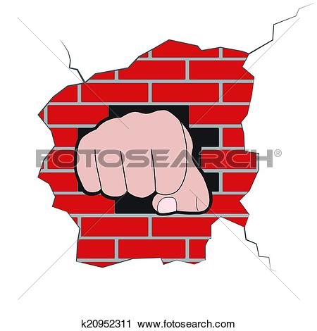 Clipart of Fist burst through brick wall k20952311.
