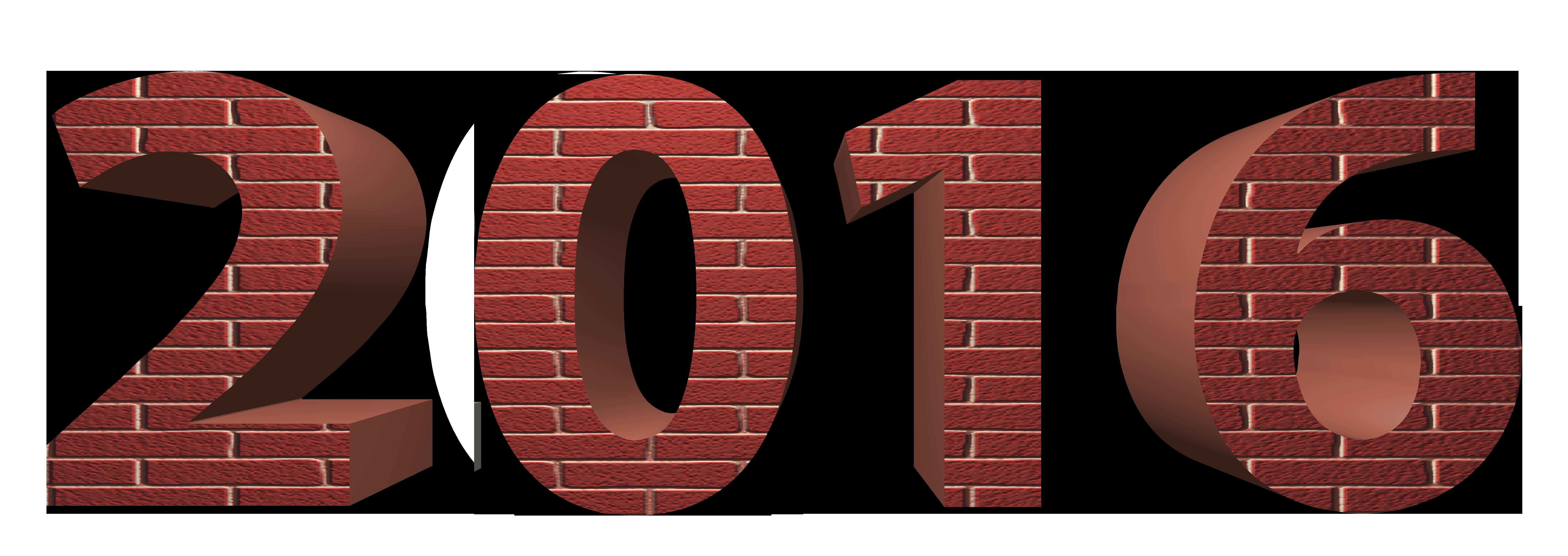 2016 3D Brick PNG Clipart Image.