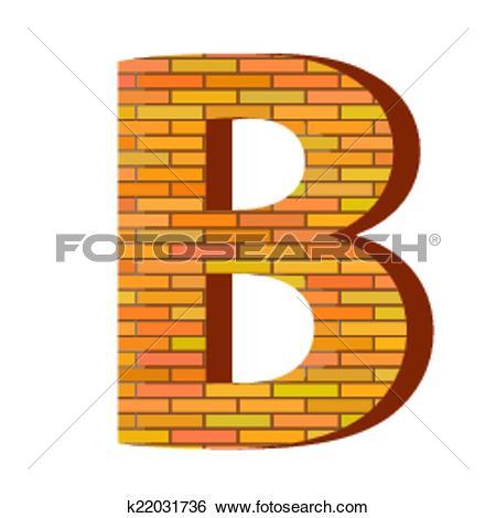 Clip Art of brick letter B k22031736.