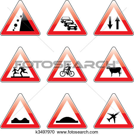 Clipart of vector european traffic signs with details k3497970.