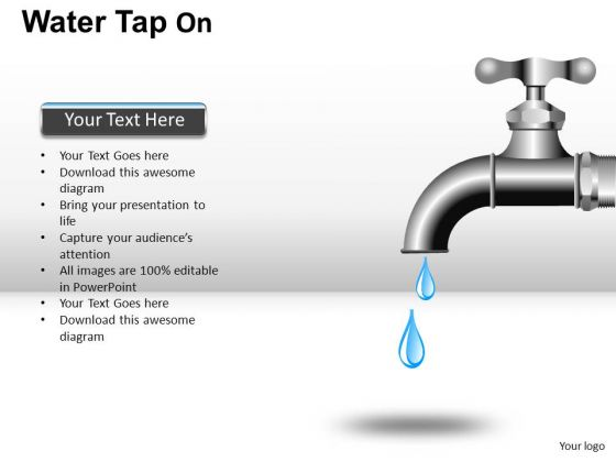 Water Faucet PowerPoint Editable Clipart And Images.