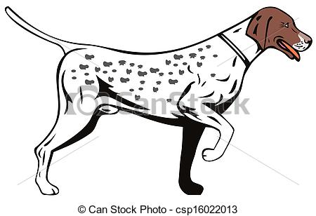 Clipart of Dog Pointer Side View Retro.