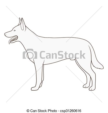 Vector Clip Art of Dog side view scheme silhouette vector.