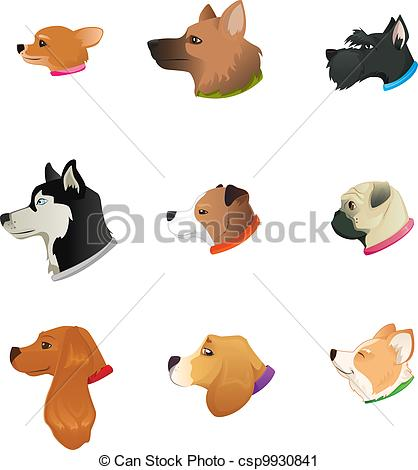 Vector Clip Art of Dogs Heads.