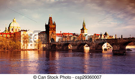 Stock Photography of Charles Bridge in the Prague.