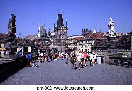 Stock Photo of Ground Level view along Charles Bridge Prague pra.