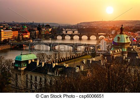 Stock Photography of Panoramic view on Charles bridge and sunset.
