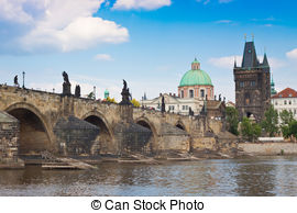 Clipart of View of Vltava river with Charles bridge in Prague.