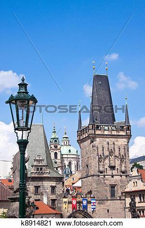 Clipart of Prague. Charles Bridge in Prague Czech Republic.