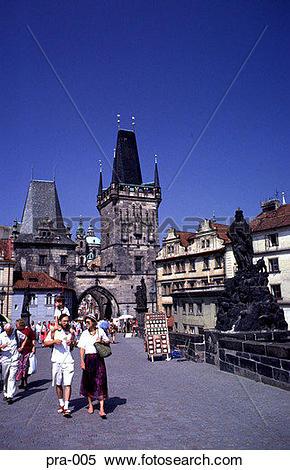 Stock Image of Ground Level view of Charles Bridge Prague pra.