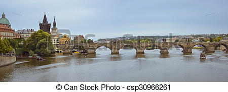 Stock Illustration of View to the Charles Bridge, Prague.
