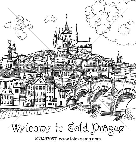 Clip Art of Prague Castle and Charles Bridge k33487057.