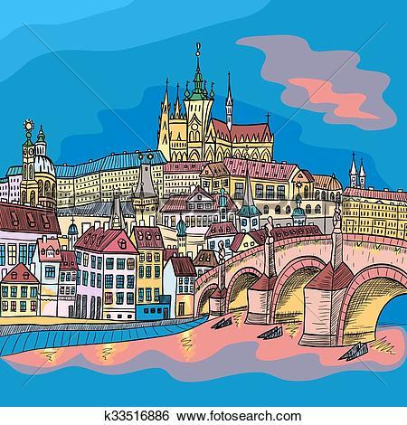 Clip Art of Prague Castle and Charles Bridge k33516886.